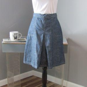 Eddie Bauer Petite Denim Jean Skirt Center Pleat